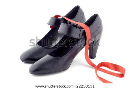 Black dance shoes - stock photo