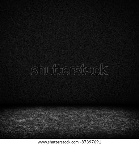 Black dark grain wall and black floor interior background