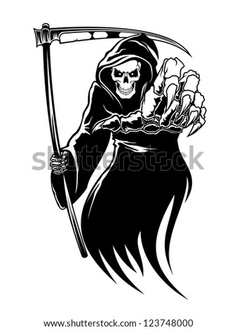 Black death monster with scythe for halloween concept. Vector version also available in gallery