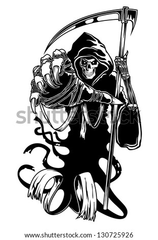 Black death with scythe for halloween or horror concept. Vector version also available in gallery