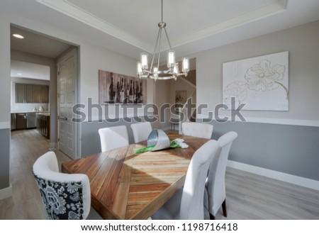 Black Diamond, WA / USA - Oct. 3, 2018: Modern dining room interior #1198716418