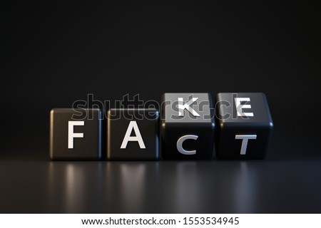 Black dice and fact or fake with April fools day concept on dark background. Misleading and changing communication. April fools day. Realistic 3D render. Photo stock ©