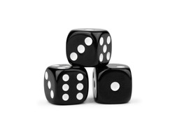 black dice with contrasting dots, isolate on a white background