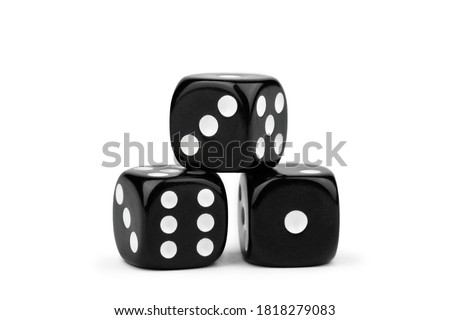 black dice with contrasting dots, isolate on a white background Photo stock ©