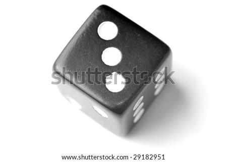 Black Die on White - Three at top.