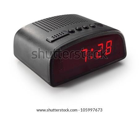 black digital alarm clock radio stock photo 105997673 shutterstock. Black Bedroom Furniture Sets. Home Design Ideas