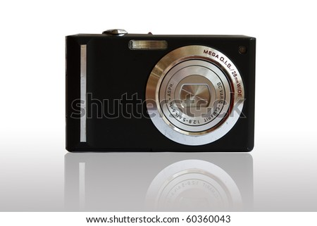 Black digital camera  on White Backgroud