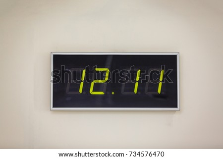 Clock showing midnight and a 5 second countdown  Isolated on a white