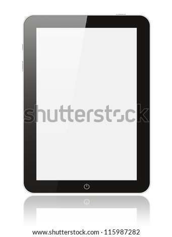 Black digital tablet pc on white background - stock photo