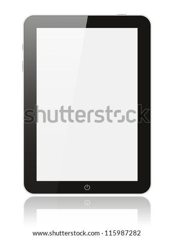 Black digital tablet pc on white background