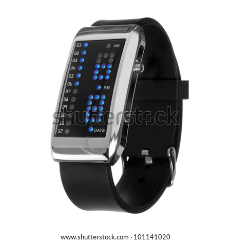 black digital wrist watches isolated on white