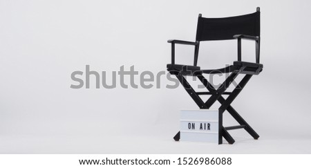 Black director chair and lightbox with word.It is used in video production,film and cinema industry on white background. #1526986088