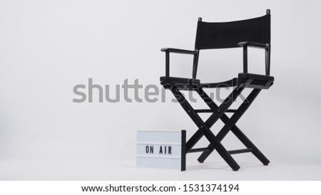 Black director chair and lightbox with word.It is used in video production,film and cinema industry on white background. #1531374194