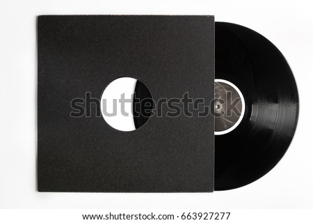 Black  DJ vinyl record plate for a music player with dark cover close-up                                                               #663927277