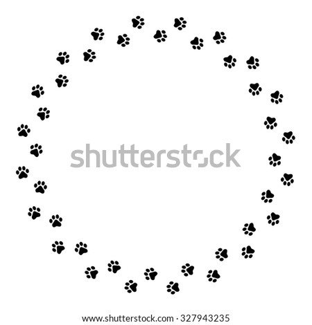 black dog paw prints circlel frame border 327943235 - Dog Frame