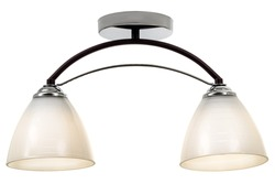 Black double lamp ceiling lamp with chrome base and matt white shades. Isolated on white background
