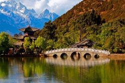 Black Dragon Pool with Jade Dragon snow mountain (Heillongtan ShangriLa China)