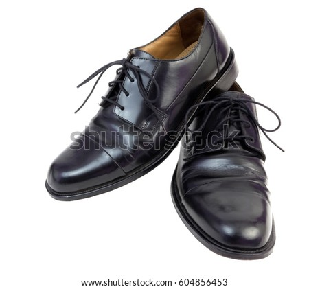 Black dress shoes. Isolated.
