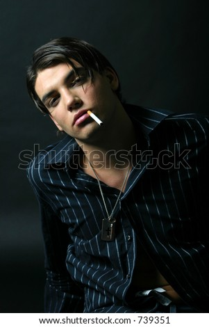Black dressed model smoking portrait