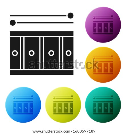 Black Drum with drum sticks icon isolated on white background. Music sign. Musical instrument symbol. Set icons colorful circle buttons.