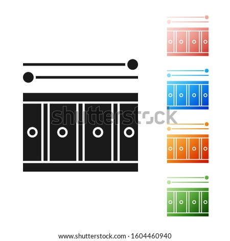 Black Drum with drum sticks icon isolated on white background. Music sign. Musical instrument symbol. Set icons colorful.