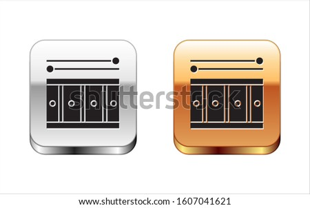 Black Drum with drum sticks icon isolated on white background. Music sign. Musical instrument symbol. Silver-gold square button.