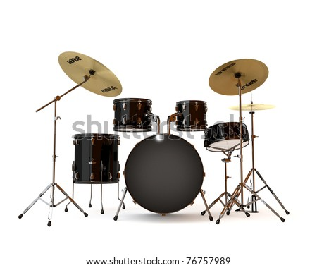 Black drums with a white background