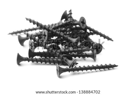 Black drywall screws isolated on white #138884702