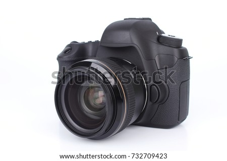 Black DSLR Camera isolated on white background #732709423