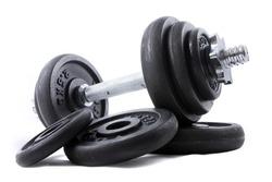 Black dumb-bell for sport on white background
