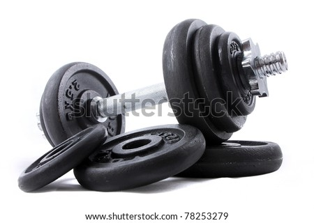 Black dumb-bell for sport on white background