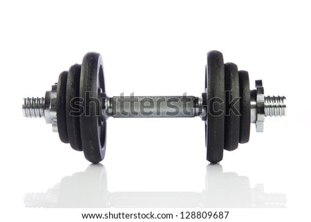 Black dumbbell isolated on a white background.