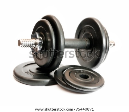 black dumbbell isolated on a white background