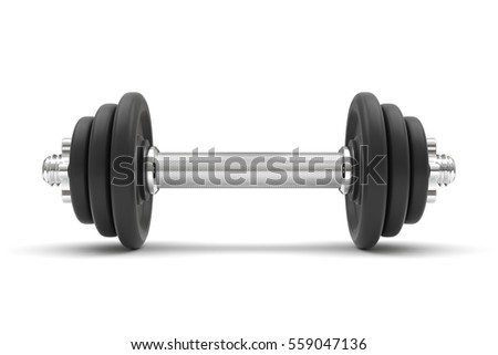 Black dumbbell on a white background. 3D illustration
