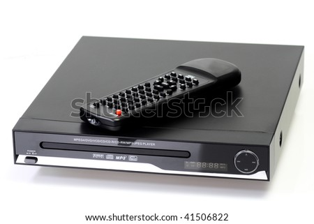 Black dvd-player with remote control - isolated on white background