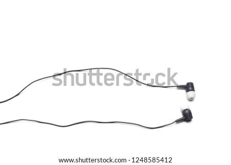 black Earphones isolated on white background
