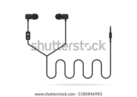 black earphones line isolated on white. concept of meloman items like earbud or ear plugs with songs and personal gadget. flat simple trend modern logotype graphic art design vector illustration