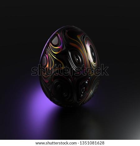 Black Easter egg on a dark background, 3d render / rendering #1351081628
