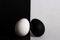 black egg lies on white background white egg lies on black background
