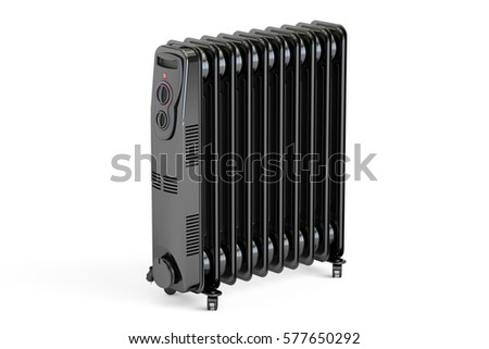 Black electric oil heater, oil-filled radiator. 3D rendering isolated on white background #577650292