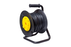 Black electrical extension cord on a take-up reel with four sock