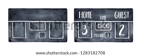 Black electronic scoreboard illustration to decorate sport events. Set of empty mockup and text sample. Hand drawn watercolour artistic painting on white, cutout clip art element for creative design.
