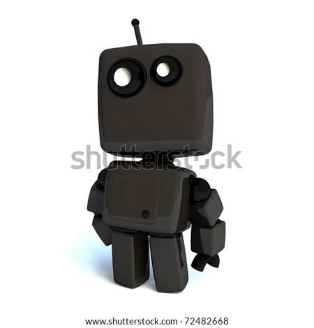 Black elegant 3D robot isolated on white background