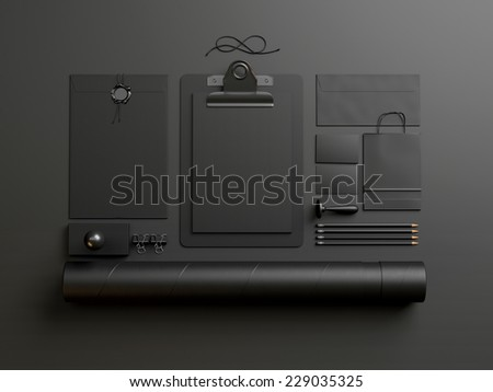 black elements on dark paper background