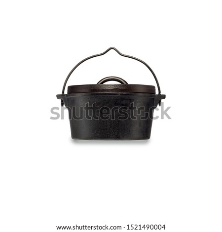 black empty cast iron  dutch oven,empty black iron cast cauldron, cast iron black pot, kettle cookware, isolated on perfect white background, stock photography