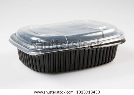 Black empty food tray. Isolated on white background #1013913430