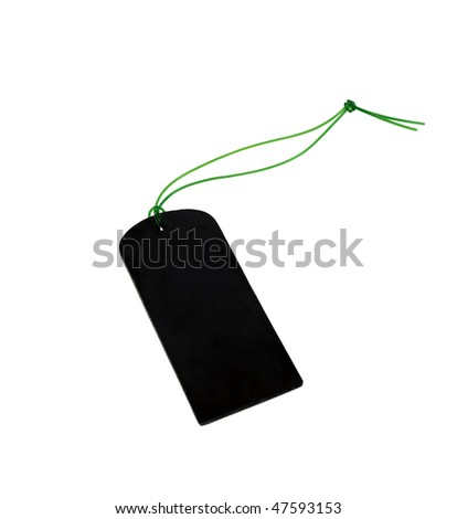 Black empty tag with a green cord isolated on a white