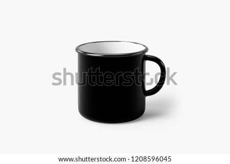 Black Enamel Mug Mock-Up isolated on soft gray background.Can be used for your design and branding.
