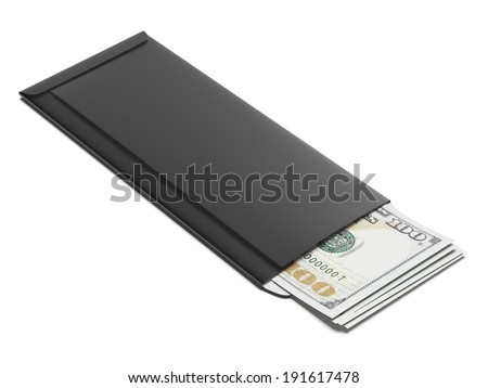 Black envelope with dollars