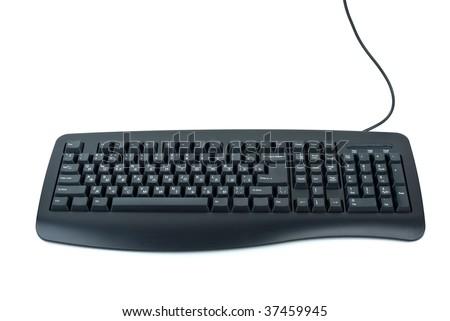 Black ergonomic computer keyboard isolated on the white background